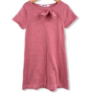 H&M Pink Sparkly Short Sleeve Sweater Dress 6-8 Y